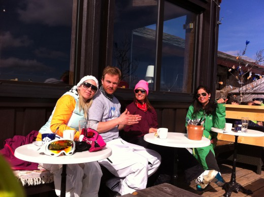 Lunchbreak on the Mountain! Ullis, Andreas, Christine and Hanna!